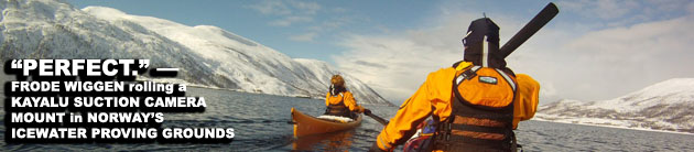 Frode Wiggen: Testing a Kayalu suction camera mount on a kayak, North Norway.
