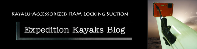 Expedition Kayak Product Review of Kayalu Accessorized RAM Locking Suction Camera Mount on Epic V10 Sport Surf Ski